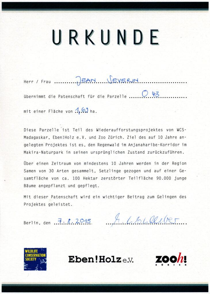 Ebenholz Urkunde